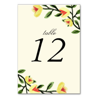 Yellow Poppies Table Number Cards Table Cards