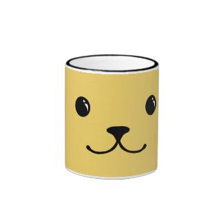 Yellow Puppy Cute Animal Face Design Ringer Mug