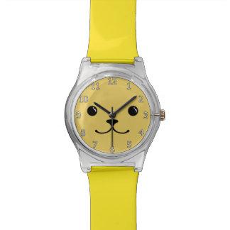 Yellow Puppy Cute Animal Face Design Watch