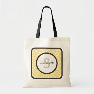 Yellow Quatrefoil Monogram Tote Bag
