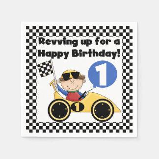 Yellow Racing Car 1st Birthday Paper Napkins