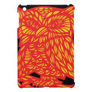 Yellow Red Black Owl Artwork Drawing Cover For The iPad Mini