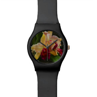 Yellow Red Cattleya Orchid Wristwatches
