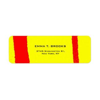Yellow Red Elegant Modern Plain Minimalist Return Address Label