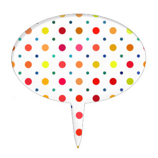 Yellow, Red, Orange, Brown, Green, Blue Polka Dots Cake Toppers