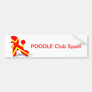 Yellow Red Poodle Car Bumper Sticker