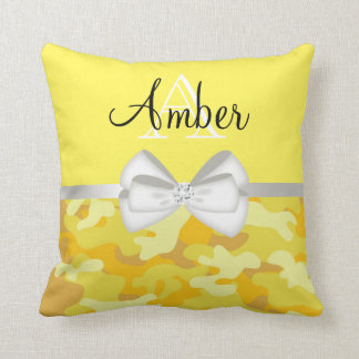 Yellow Rhinestone and Camo Monogram Cushion