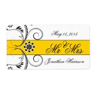 Yellow Ribbon Wedding Mr Mrs Water Bottle Labels