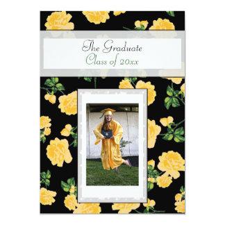 Yellow Roses Black Graduation Photo Invitation