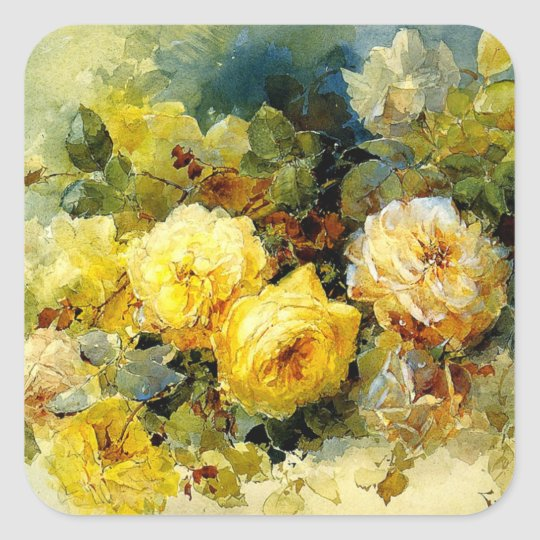 Yellow Roses, floral painting Square Sticker