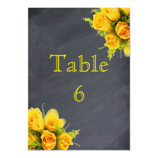 Yellow Roses on Chalkboard - Table Number 5x7 Card