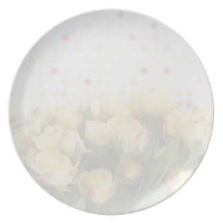 yellow roses on polka dots fade plate