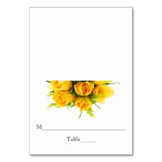 Yellow Roses on White - Reception Escort Card Table Cards