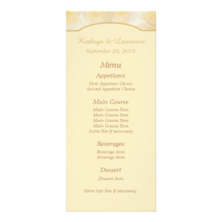 Yellow Roses Personalized Wedding Menu Rack Card