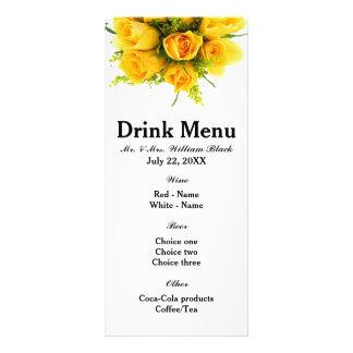Yellow Roses White - Menu Personalised Rack Card