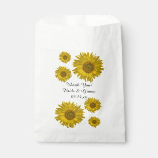 Yellow Scattered Sunflowers Wedding Thank You Favour Bags