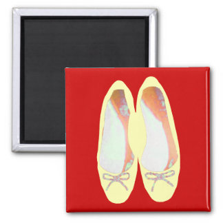Yellow shoes square magnet