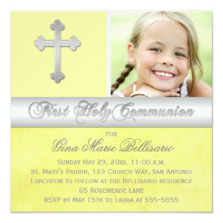 Yellow Silver 1st Holy Communion Photo Invitation