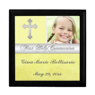 Yellow, Silver Holy Communion Keepsake Jewelry Box
