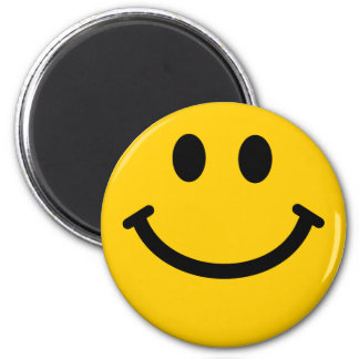 Yellow Smiley Face 6 Cm Round Magnet
