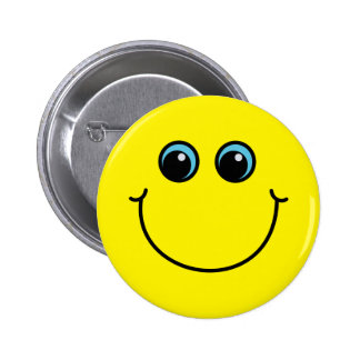 Yellow Smiley Face 2 Inch Round Button
