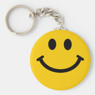 Yellow Smiley Face Basic Round Button Key Ring