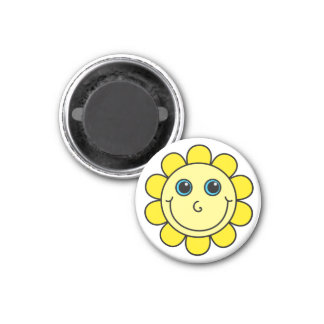 Yellow Smiley Face Flower 3 Cm Round Magnet