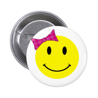 Yellow Smiley Face Pink Bow 6 Cm Round Badge