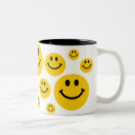 Yellow Smiley Face Two-Tone Coffee Mug