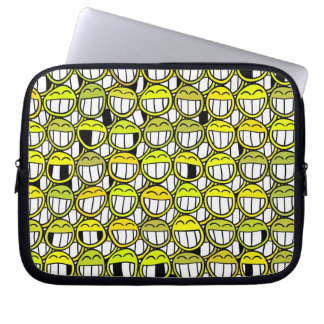 Yellow Smiley Faces Funny Humor Laugh Cartoon Art Laptop Sleeve