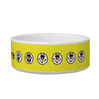 Yellow smiley faces personalised pet bowls