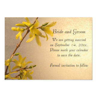 Yellow Spring Forsythia Wedding Save the Date Card