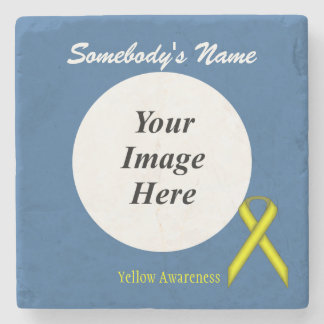 Yellow Standard Ribbon by Kenneth Yoncich Stone Coaster