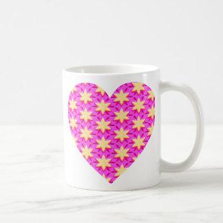 Yellow Stars and Pink Heart Basic White Mug