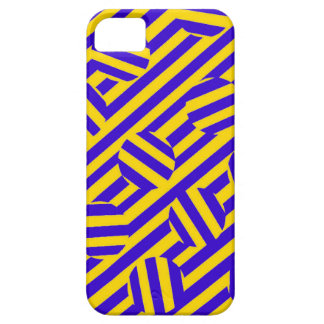 Yellow stripes and circles pattern iPhone Cases