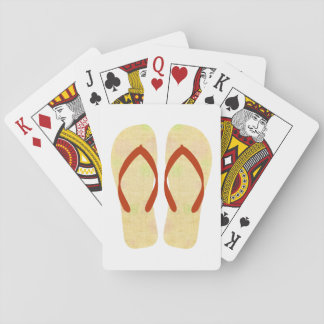 Yellow Summer Beach Party Flip Flops Playing Cards