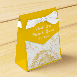 Yellow Sunflower Graphic Wedding Favour Box
