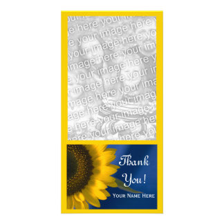 Yellow Sunflower on Blue Thank You Picture Card
