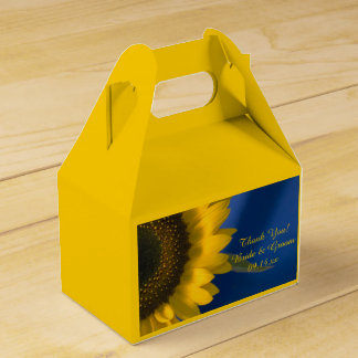 Yellow Sunflower on Blue Wedding Favour Box