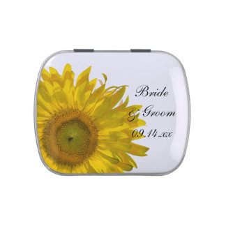 Yellow Sunflower Wedding Favor Candy Tins