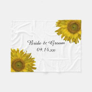 Yellow Sunflower Wedding Fleece Blanket