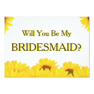Yellow Sunflower Will You Be My Bridesmaid Card