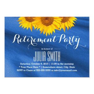 Yellow Sunflowers Blue Fabric Retirement Party Card