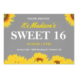 Yellow Sunflowers Sweet 16 Birthday Party Invite