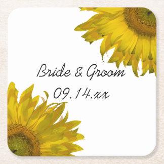 Yellow Sunflowers Wedding Square Paper Coaster