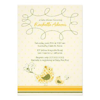 Yellow Swirly Mom Baby Bird Baby Shower Invitati Custom Announcement