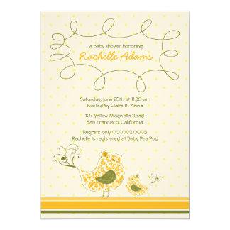 Yellow Swirly Mom & Baby Bird Baby Shower Invitati Custom Announcement