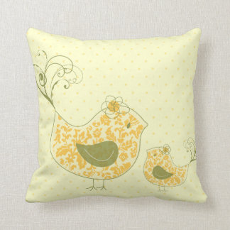 Yellow Swirly Mom & Baby Bird  Whimsical Damask Cu Throw Pillow