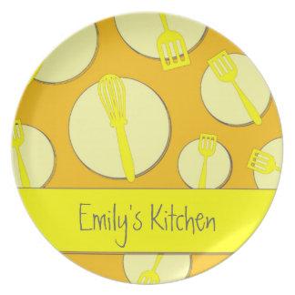 Yellow theme retro utensils custom dinner plate