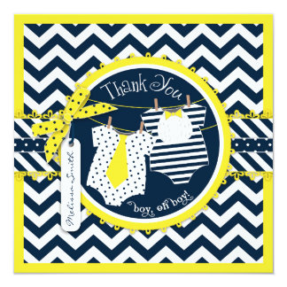Yellow Tie & Bowtie, Chevron Print Thank You Card Invitations